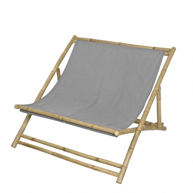 """Strandstoel Tweepersoons """"Relax"""" Bamboe Grijs 14420245"""