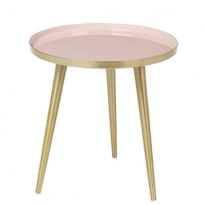"Ronde Bijzettafel ""Jelva"" Messing Cream Tan Roze"