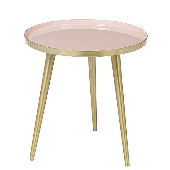 "Ronde Bijzettafel ""Jelva"" Messing Cream Tan Roze 71177255"