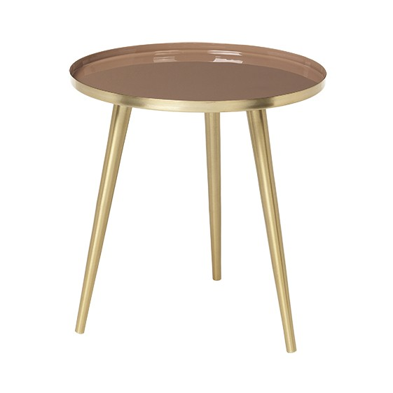 "Ronde Bijzettafel ""Jelva"" Messing Indian Tan 71172329"