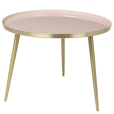 "Ronde Salontafel ""Jelva"" Messing Cream Tan Roze"