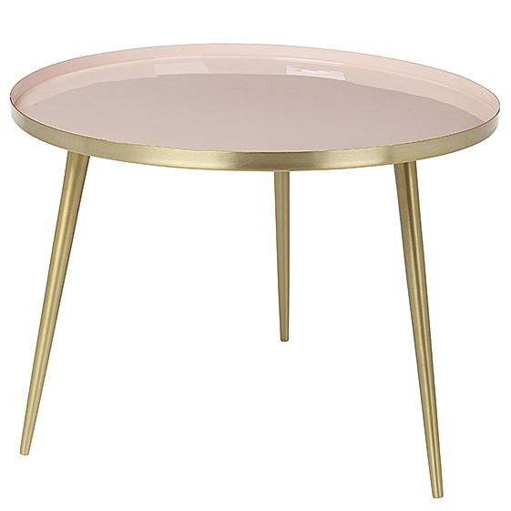 "Ronde Salontafel ""Jelva"" Messing Cream Tan Roze 71177256"