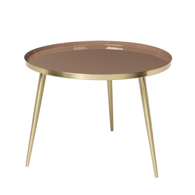 "Ronde Salontafel ""Jelva"" Messing Indian Tan"