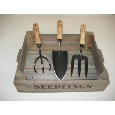 Handgereedschap traditioneel, set van 3 stuks incl. zaaibak
