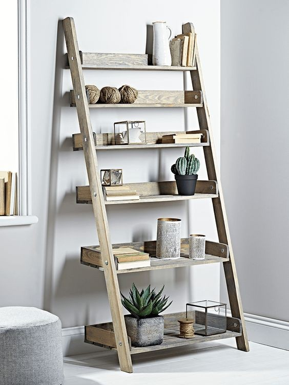 Decoratie ladder aldsworth hout wanddecoratie - Decoratie houten trap ...