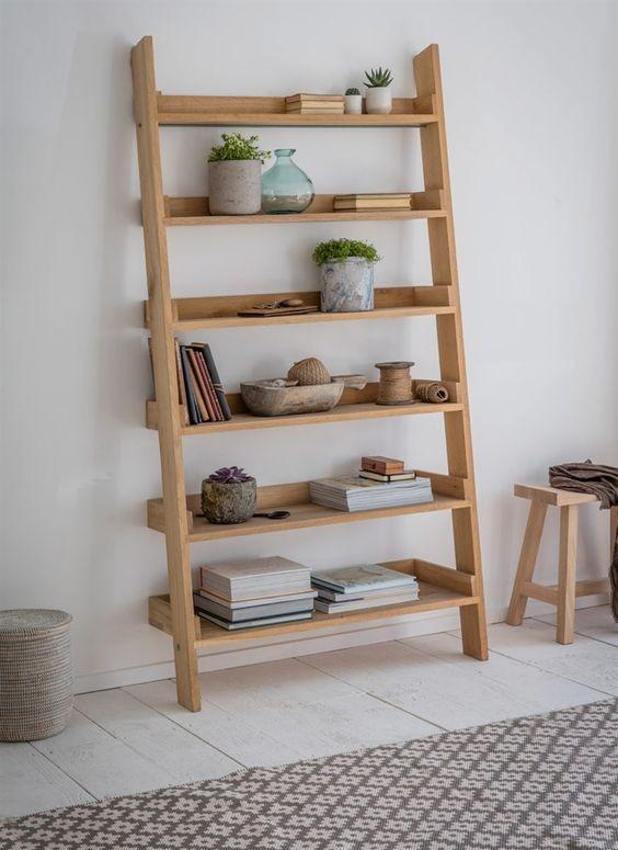 Decoratie ladder hambledon eikenhout extra breed for Vensterbank decoratie hout