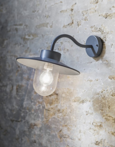 """Wandlamp Buiten Grijs """"Swan Neck Light""""  LAHP16"""