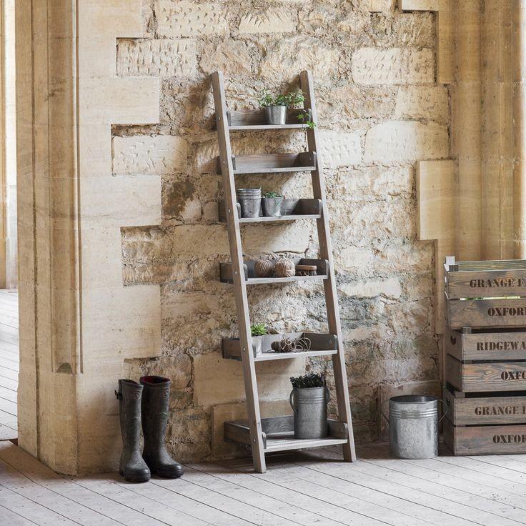 Houten decoratie ladder aldsworth opbergrekken hout for Decoratie ladder action