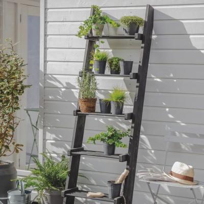 Decoratie Ladder Hout Zwart Moreton