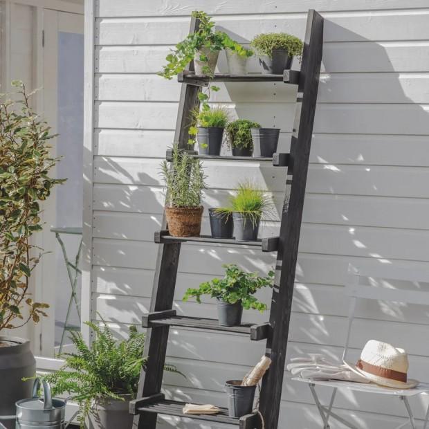 Decoratie Ladder Hout Zwart Moreton MTLD01
