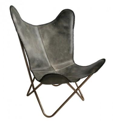 """Malagoon Leren """"Vlinderstoel"""" Vintage Grijs"""