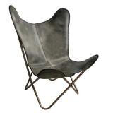 Vlinderstoel Leer Vintage Grijs