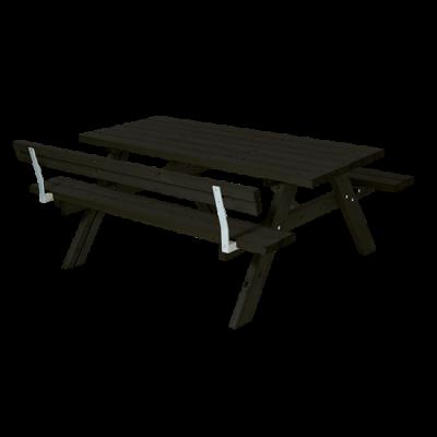 Zwarte Picknicktafel 1 Rugleuning