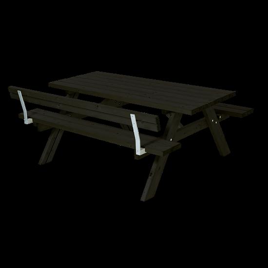 Zwarte Picknicktafel Met 1 Rugleuning 185501-15