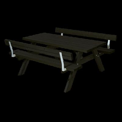 Zwarte Picknicktafel 2 Rugleuningen