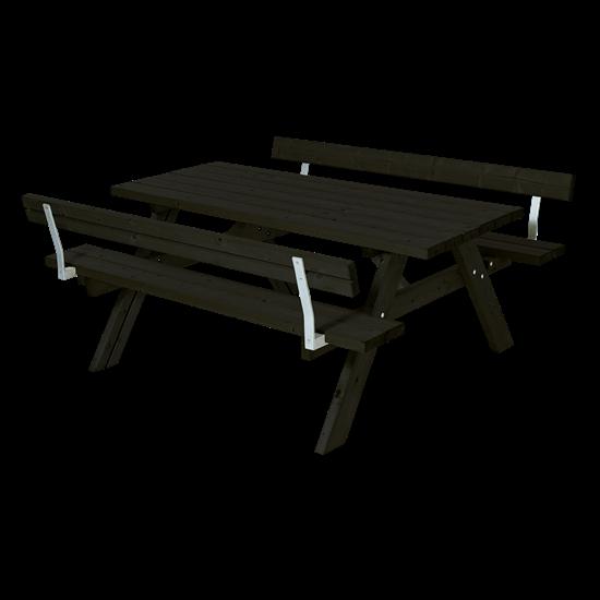 Zwarte Picknicktafel 2 Rugleuningen 185502-15