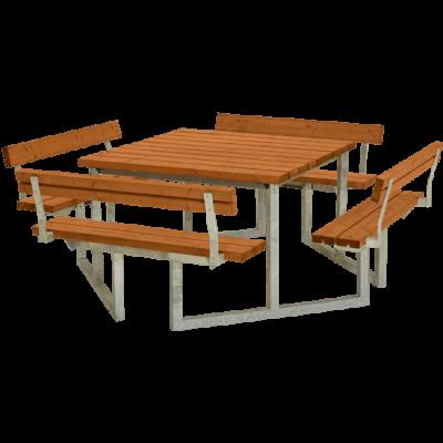 Picknicktafel Vierkant Twist Teak 4 Rugleuningen