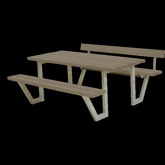 Picknicktafel Stalen Frame Wega Grijs Bruin 1 Rugleuning 187711-18
