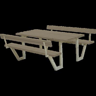 Picknicktafel Stalen Frame Wega Grijs Bruin 2 Rugleuningen