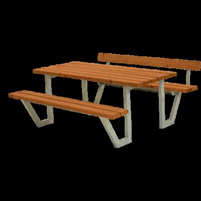 Picknicktafel Stalen Frame Wega Teak 1 Rugleuning