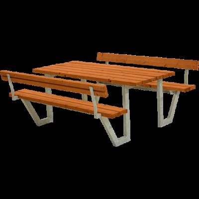 Picknicktafel Stalen Frame Wega Teak 2 Rugleuningen