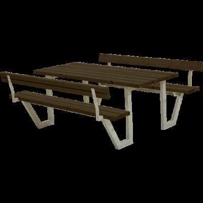 Picknicktafel Stalen Frame Wega Zwart 2 Rugleuningen