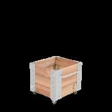 """Vierkante Lariks Plantenbak """"Cubic"""" Op Wielen"""
