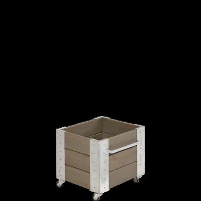 """Vierkante Plantenbak Grijsbruin """"Cubic"""" Op Wielen"""