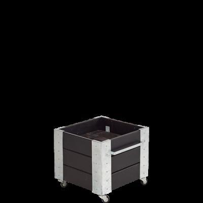 """Vierkante Plantenbak Zwart """"Cubic"""" Op Wielen"""
