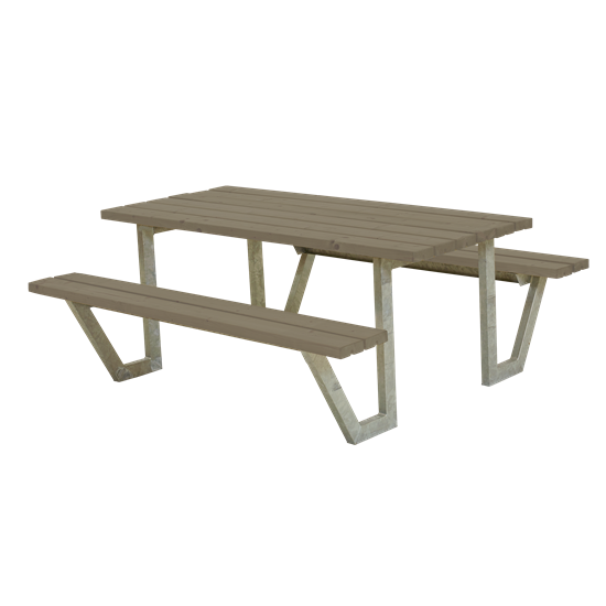 """Picknicktafel Stalen Frame """"Wega"""" Grijs Bruin 187710-18"""