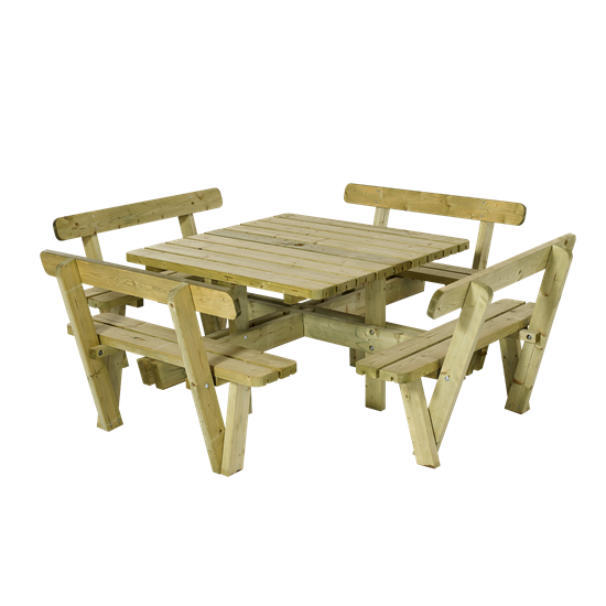 Vierkante Picknicktafel Met Rugleuning 18534-1