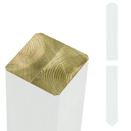 Witte Tuinpalen Hout 9 x 9 x 208 CM Met Punt 18147-13