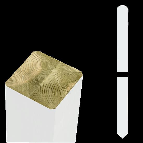 Witte Tuinpalen Hout 7 x 7 x 208 CM Met Punt 18144-13