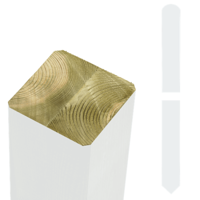 Witte Tuinpalen Hout 9 x 9 x 238 CM Met Punt