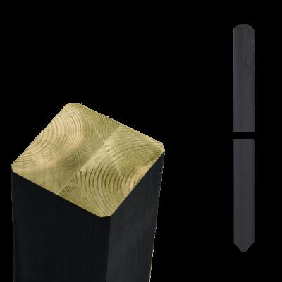 Zwarte Tuinpalen Hout 7 x 7 x 208 CM Met Punt