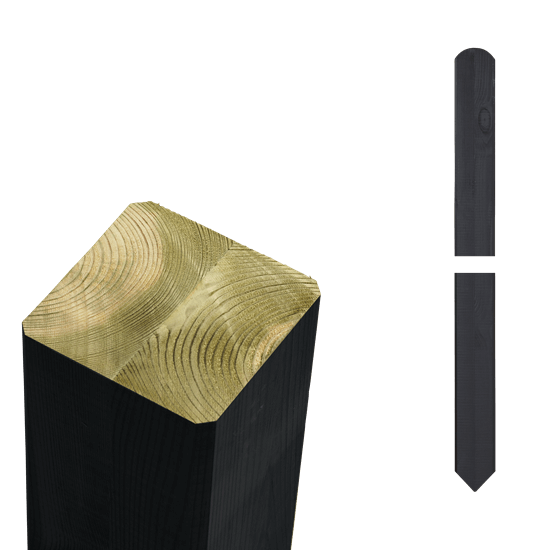 Zwarte Tuinpalen Hout 7 x 7 x 208 CM Met Punt 18144-15