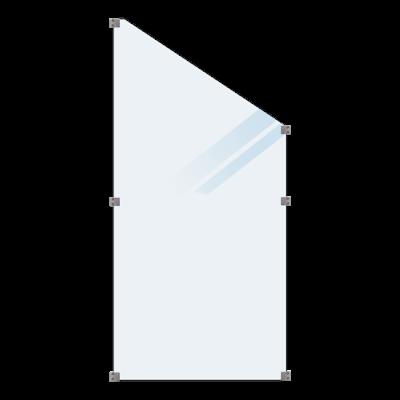 Geharde Glasplaat Mat Glas Schuine Hoek 90 x 127 180 CM
