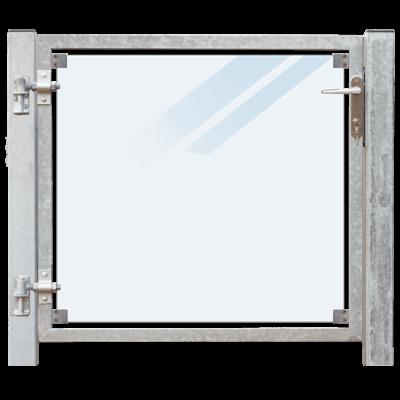 Glazen Tuinpoort Gehard Gelaagd Mat Glas 99 x 91 CM + 16 CM Stalen Palen Voor In Beton - Links Opgehangen