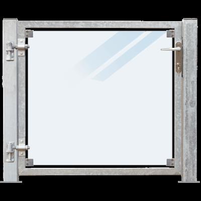 Glazen Tuinpoort Gehard Gelaagd Mat Glas 99 x 91 CM + 16 CM Stalen Palen Met Voetplaat - Links Opgehangen