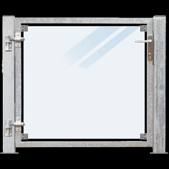 Glazen Tuinpoort Gehard Gelaagd Mat Glas 99 x 91 CM + 16 CM Stalen Palen Met Voetplaat - Links Opgehangen 17667-1