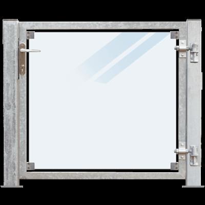 Glazen Tuinpoort Gehard Gelaagd Mat Glas 99 x 91 CM + 16 CM Stalen Palen Met Voetplaat - Rechts Opgehangen