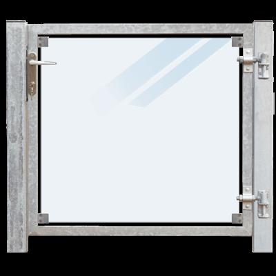 Glazen Tuinpoort Gehard Gelaagd Mat Glas 99 x 91 CM + 16 CM Stalen Palen Voor In Beton - Rechts Opgehangen