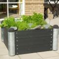 Vierkante Plantenbak Buiten Zwart PIPE6A