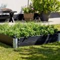 Lage Vierkante Plantenbak Buiten Zwart PIPE29A