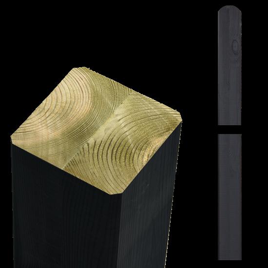 Zwarte Tuinpalen Hout 9 x 9 x 148 CM 20363-15