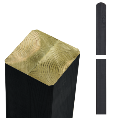 Zwarte Tuinpalen Hout 9 x 9 x 188 CM