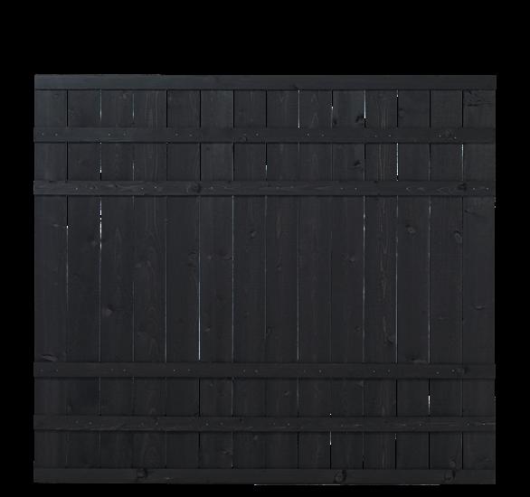 Zwart Houten Tuinscherm Rustik 180 x 158 CM 17543-15