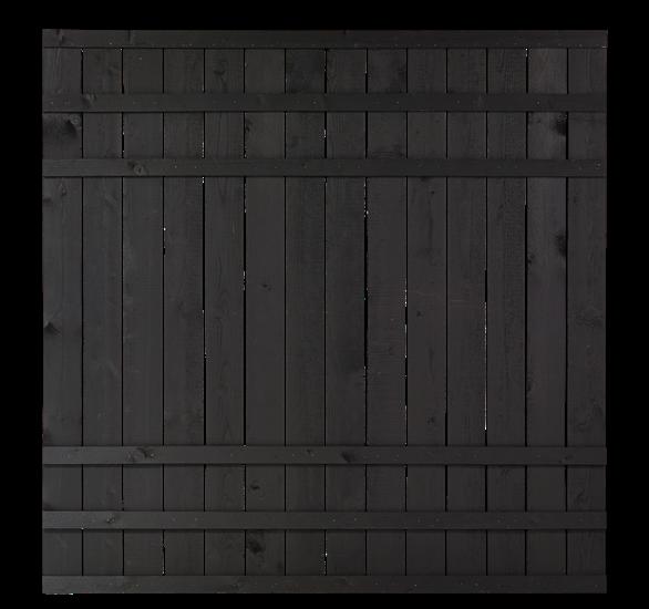 Zwart Houten Tuinscherm Rustik 180 x 180 CM 17544-15 Minimale afname 5 schermen in de mix