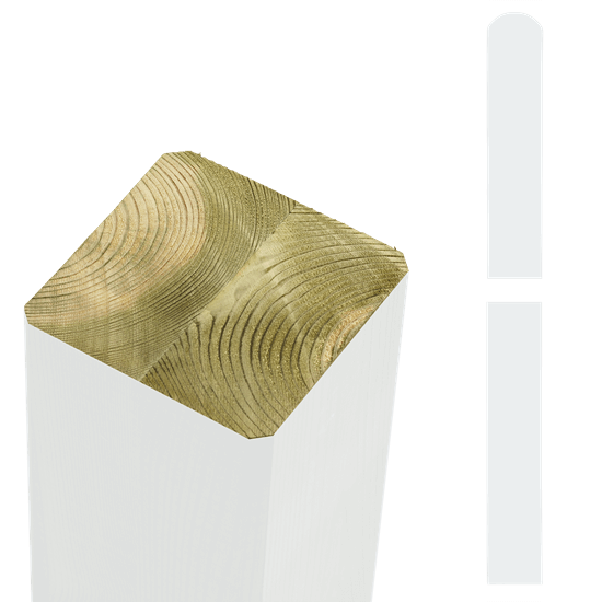 Witte Tuinpalen Hout 9 x 9 x 148 CM 20363-13