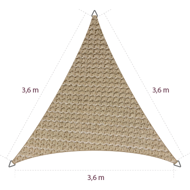 Driehoek 3,60 x 3,60 x 3,60 meter Triangle 3,60